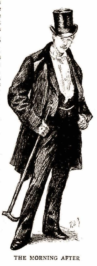 A young man in a top hat and with cane.