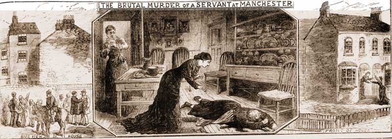 Sketches showing the discovery of the murder.