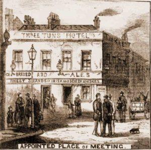 A sketch of the Three Tuns pub.