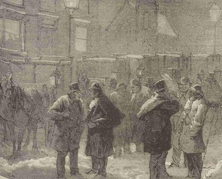 Cabmen gathered at a cabstand in the snow,