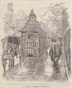 A sketch of a Victorian Cabmen's Shelter.