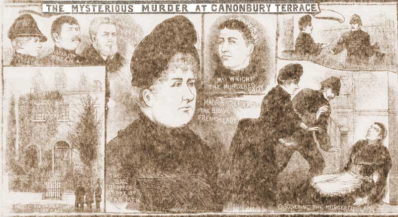 Illustrations showing the details of the murder.
