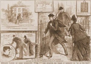 Sketches showing the events surrounding Mrs. Wright's murder at Canonbury.