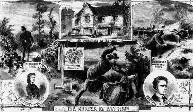 Sketches showing the murder in Eltham.