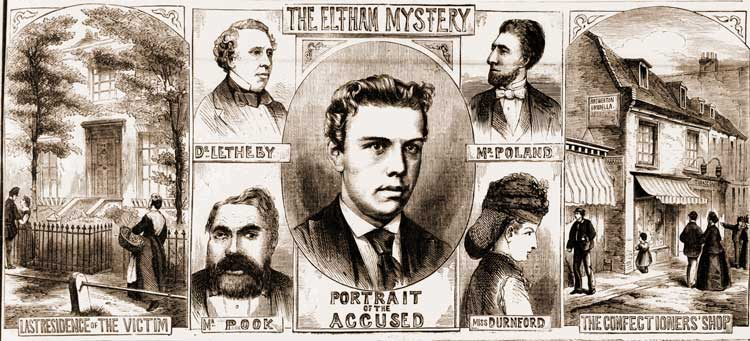 Further sketches showing scenes from the Eltham murder and the trial of Pook.
