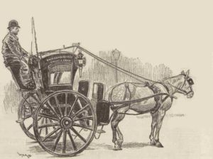 A London cabbie sitting over his cab and horse.