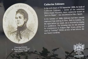 The memorial board to Catherine Eddowes in Mitre Square.