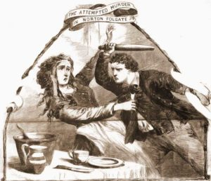Arthur Mackay attacking Emma Grossmith. From The illustrated Police News, Saturday, 16th May, 1868. Copyright, The British Library Board.