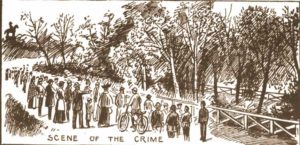 People gathered at the scene of the crime.