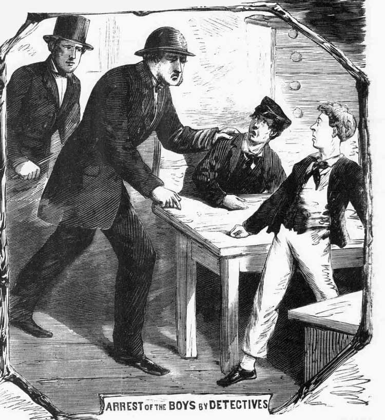 An Illustration showing the arrest of the two boys.