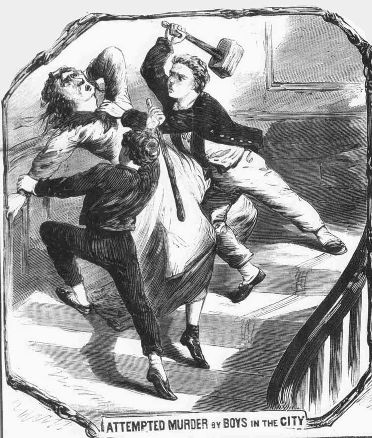 An illustration showing the attack on Mrs. Nunn.