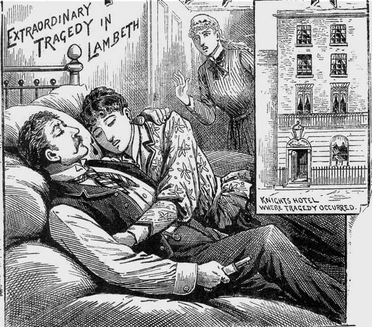 An illustration showing the couple lying on the bed.