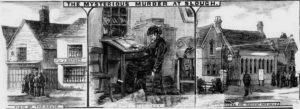 Illustrations showing the scene of the murder.