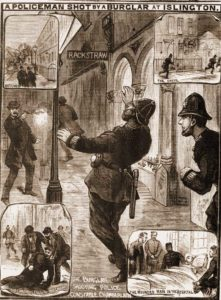 Illustrations showing the shooting of Constable Chamberlain.