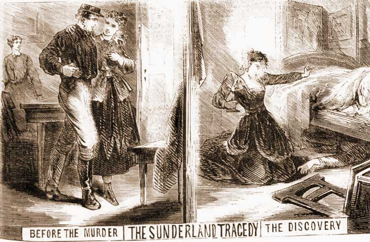 Sketches showing the murder.