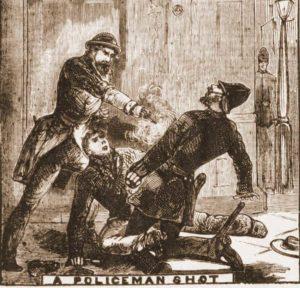 A sketch showing Constable Garner being shot.