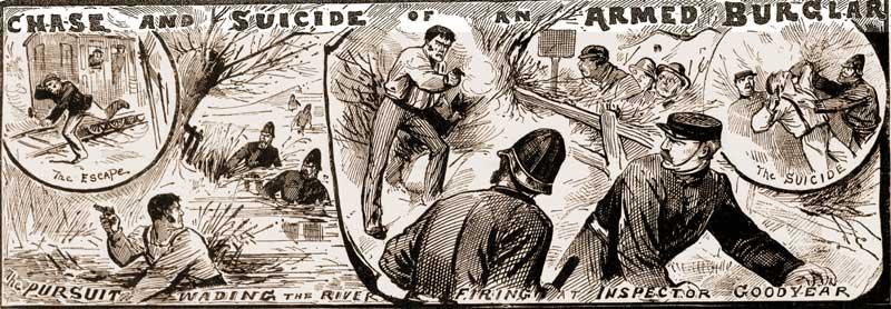 Sketches showing scenes from the chase.