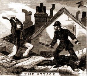 An illustration showing the prisoner throwing a tile at a police officer.