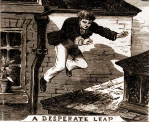The prisoner leaps from the rooftop.