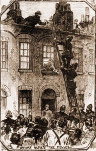 A sketch showing police climbing a ladder with Wright on the roof.