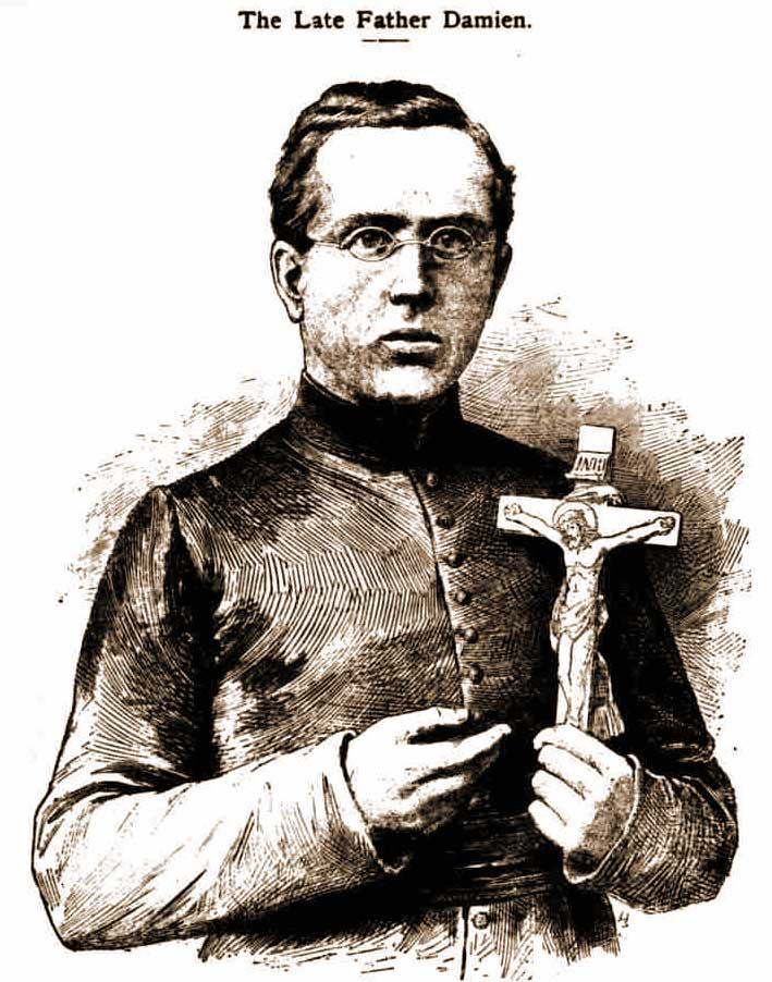 A portrait of Father Damien.