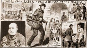 Illustrations showing Yoxall going about his business hawking meat around London.
