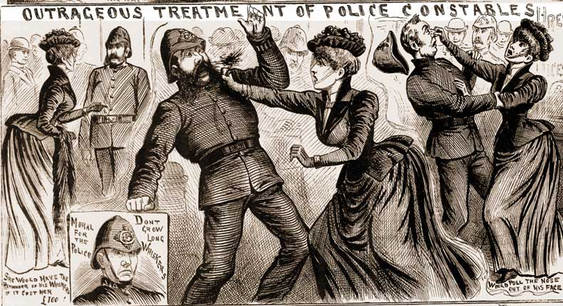 Illustrations showing the woman assaulting the police.
