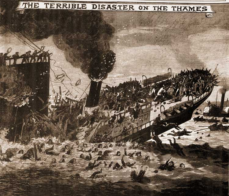 A sketch showing the Princess Alice sinking.