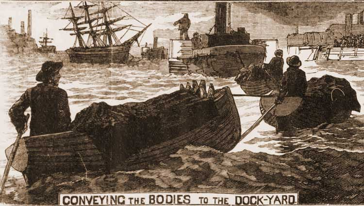 A sketch showing the bodies being picked up from the river.