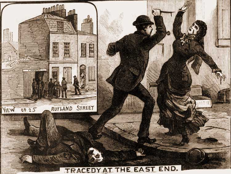 Illustrations showing the murder and the attack on Mrs Russell.
