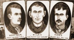 Portraits of the witnesses Mortimer, Miles and Evans.