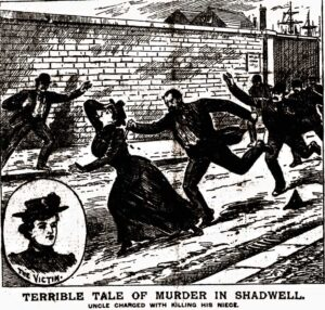 An illustration showing Emily Barrow's murder.