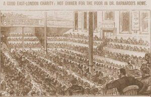 An illustration shoiwng the poor eating their meal watched by Dr Barnardo.