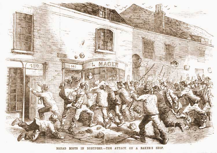 An illustration showing the bread riots in Deptford.