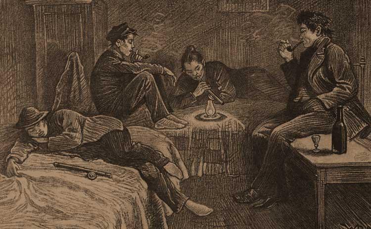 People smoking opium inside a Victorian East End opium den.