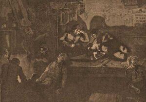 Men gathered around a table smoking opium pipes.