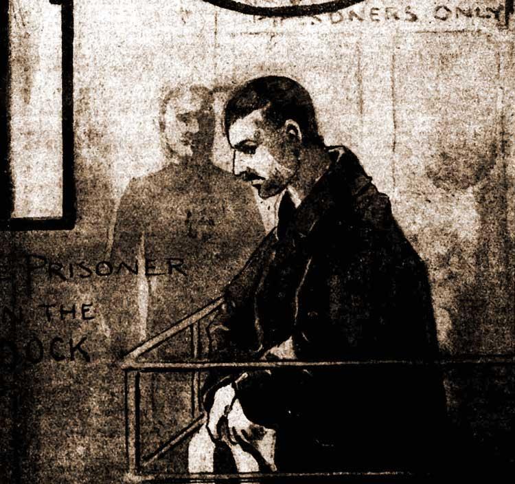 The prisoner, Robertson in the dock.
