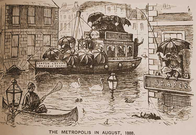 A sketch showing people in boats in the flooded streets of London in August 1888.
