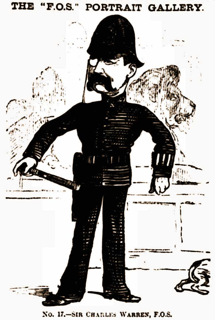 A cartoon of Sir Charles Warren dressed in a police constable's uniform.