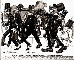 Ally Sloper directing his special constables in Trafalgar Square.