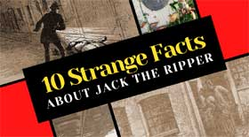 Text reading 10 Strange facts about Jack the Ripper with illustrations of the murders.