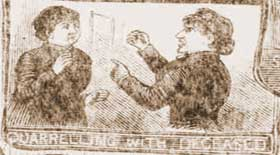 Annie Chapman arguing in the lodging house.