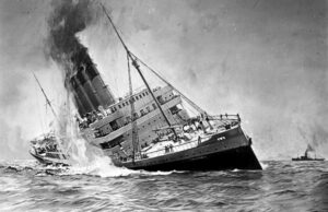 The Lusitania lists prior to sinking.