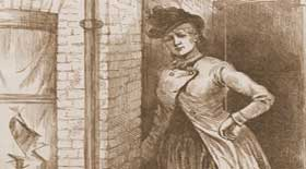 A sketch of Mary Kelly outside her room.