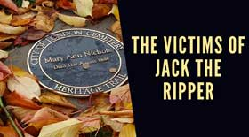 Phot of Catherine Eddowes plaque and text reading The Victims Of Jack The Ripper.