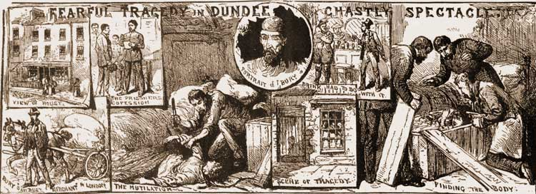 Illuistrations showing the murder of Mrs Bury by her husband, William Bury.