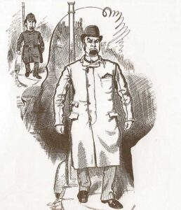 A sketch showing a police officer in plain clothes.