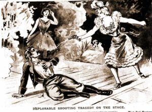 A sketch showing Julia Morrison shooting Frank Leiden on the stage.