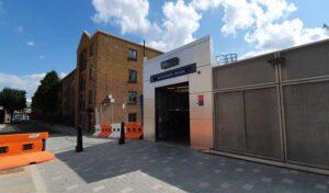 The Durward Street exit of Whitechapel Station.