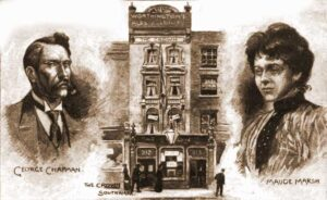 A sketch showing George Chapman, the Crown pub and his wife Maude Marsh.